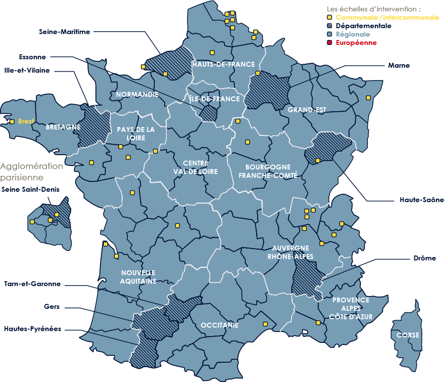 Carte de France des interventions à l'échelle nationale métropolitaine